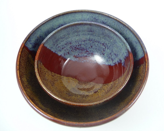 Ceramic Nesting Bowls - Set of 2 in Rustic Blue, Red & Brown