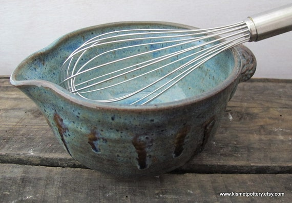 Ceramic Mixing Bowl // Handmade Pottery Batter Bowl in Beautiful Blue