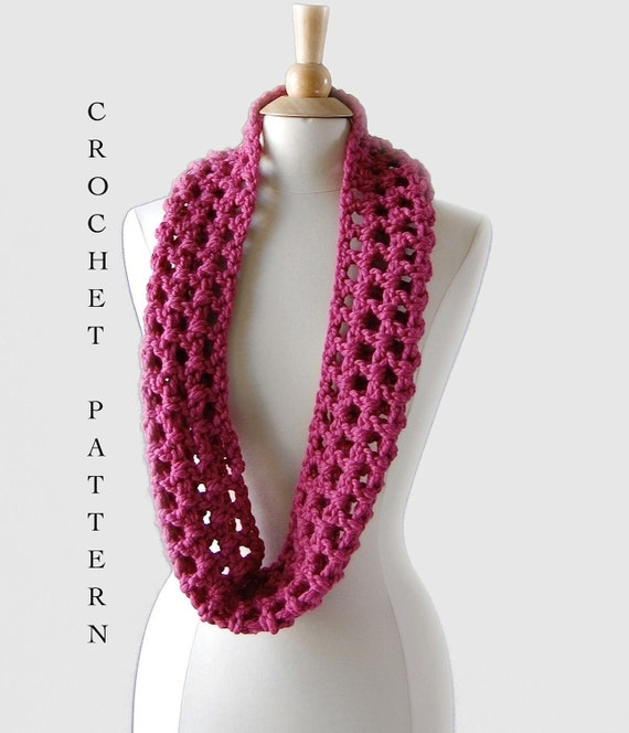 Quick And Easy Beginner Crochet Patterns : Easy Crochet Infinity Scarf Pattern Crochet Pattern PDF
