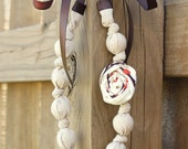 Rosette Necklace- Tan, Ivory, Brown & Orange