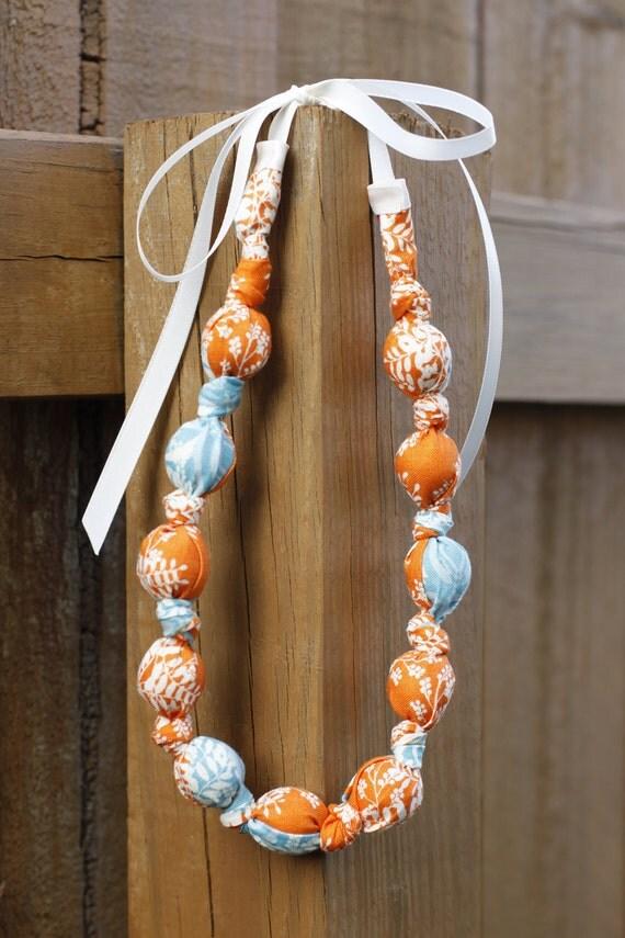 Fabric Teething Necklace- Orange, Blue & Ivory