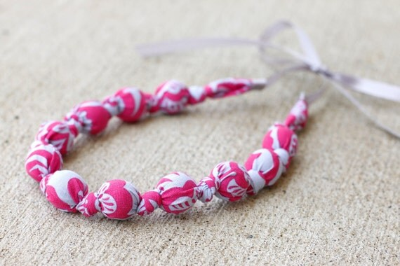 Breastfeeding Necklace Teething Necklace- Nursing Babywearing- Pink Blush & Lavender Gray Floral