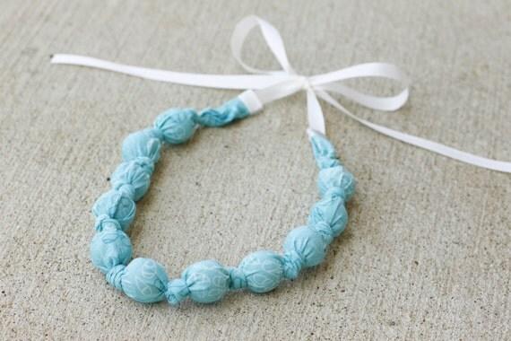 Babywearing Accessory Teething Necklace- Nursing Necklace, Breastfeeding Necklace- Ocean Breeze Leaves