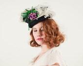 vintage 1930s hat / tilt hat / Violet Bouquet