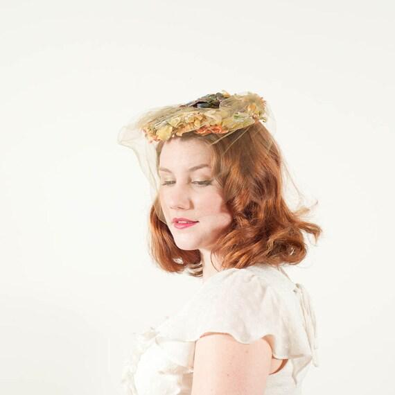 vintage 1950s hat / floral hat / Autumn Garden