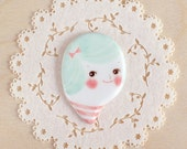 minini hand painted porcelain brooch pin or magnet by min lee 12057