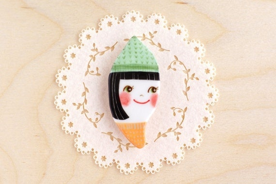 minini hand painted porcelain brooch pin unique jewelry by min lee 12031