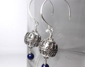 Sterling Silver Earrings with Lapis - Bali Silver tribal look