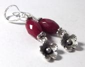 Ruby Jade Earrings with Flower Charms