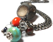Stone Necklace with mixed beads Rustic Jewelry Turquoise and Coral Colors