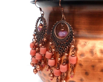 Chandelier Earrings - Copper with Pink African Beads