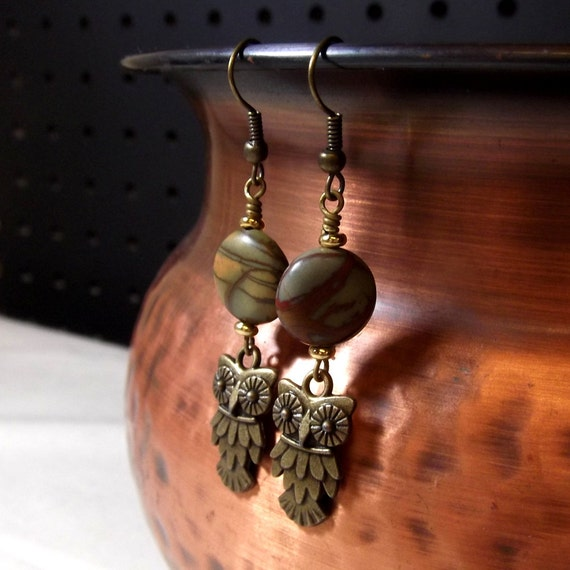 Owl Earrings with Impression Jasper - Natural Earrings in antique brass