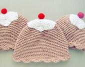 PDF Crochet Pattern Ice Creat Hat Girl - baby sweet beanie photo prop - beginner ebook - newborn to 18 month - 3 sizes