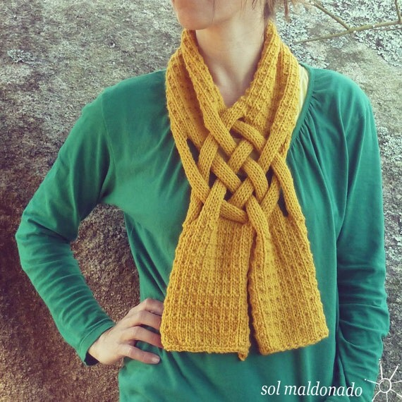 Scarf Knit PDF Pattern Weave ebook how to easy Knit by bySol
