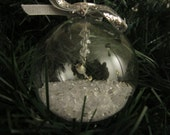 Glass Ornament with Silver Goblet
