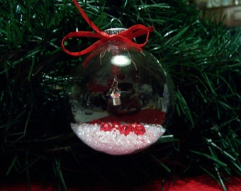Glass Ornament with Small Flower Pot with flower