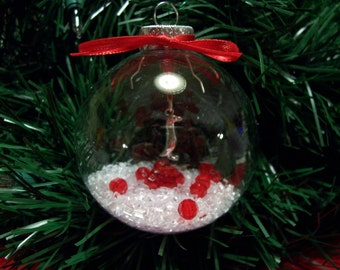 Glass Ornament with Penguin