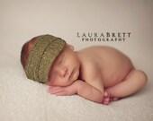 Boy photo prop newborn visor - Green Herringbone - READY TO SHIP