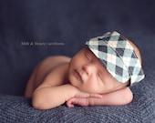 Newborn visor photo prop for boys - Green argyle - READY TO SHIP