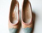 Pastel Scallop Suede Heels - Vintage 1950s Herbert Levine - Size 6