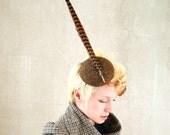 Cocktail hat The Pheasant Lord brown Harris tweed pillbox hat