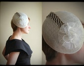 Zebra Blossoms white cocktail hat