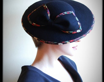 Femme Fatale black Japanese statement hat