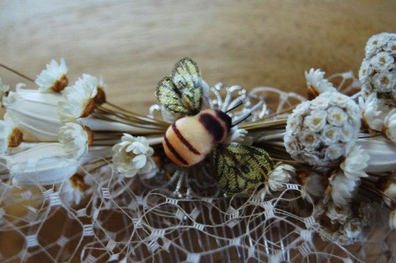 birdcage veil ivory bumble bee and flowers