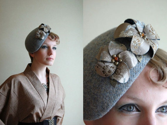 Golden Zen Garden Harris tweed and kimono silk cocktail hat