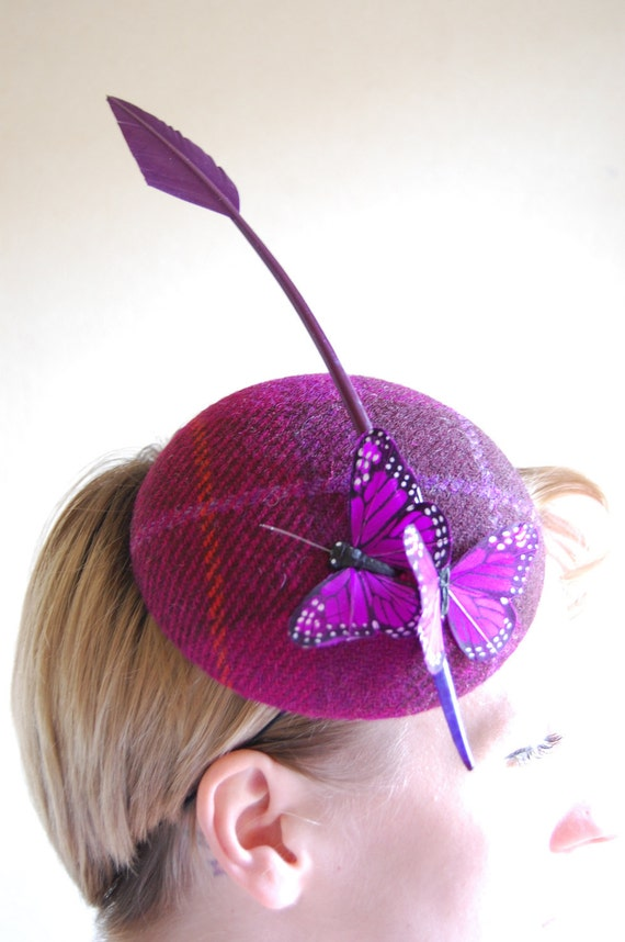 Cocktail hat, The Wind Through Time pink butterfly hat