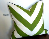 Wide Stripe Chevron Green with Navy Welt-Pillow Cover