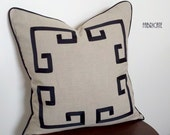 "20"" Greek Key Aegean Fretwork Linen and Black- Pillow Cover"