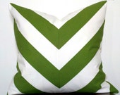 SALE- Wide Stripe Chevron Green-Pillow Cover