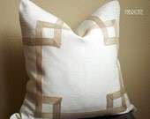 Greek Key Fretwork Natural White Linen with Jute- Pillow Cover 20""