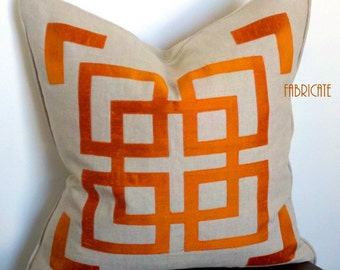 "20"" Far East Fretwork Linen and Orange Silk- Pillow Cover"
