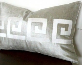 LAST ONE Greek Key silver velvet and Ivory silk- Pillow Cover