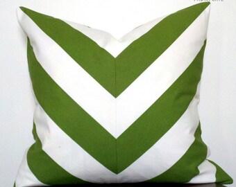 Wide Stripe Chevron Green-Pillow Cover
