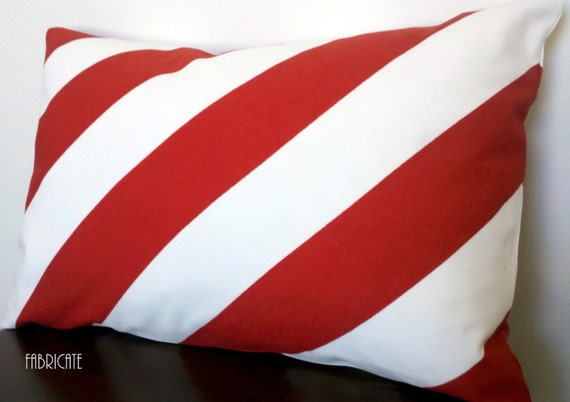 Ikea Sofia Wide Stripe Diagonal Red-Pillow Cover