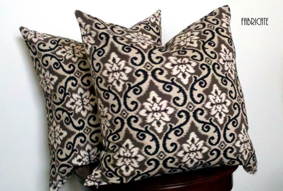 Ikat Damask in Taupe, Black and Cream-Pillow Cover