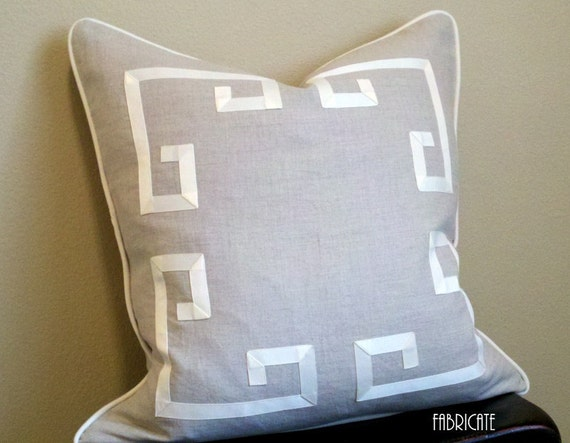 Greek Key Aegean Fretwork Linen and Off White- Pillow Cover