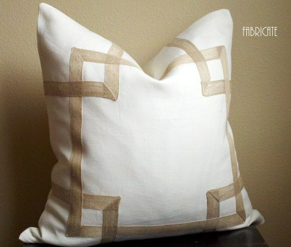 "Greek Key Fretwork Ivory Linen with Jute- Pillow Cover 18""-26"""