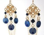 Gold Chandelier Earrings, Dark Blue Shell Chandelier Earrings, Dark Blue and Gold Filigree Earrings, Blue Jewelry, Party Jewelry