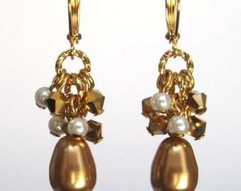 Gold Teardrop Earrings, Swarovski Faux Pearl Drop Earrings, Bright Gold Pearl Cluster Earrings, Elegant Wedding Bridal Jewelry