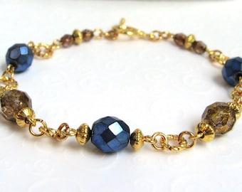 Deep Blue Beaded Bracelet, Dark Blue and Brown Czech Bead Bracelet, Fashion Bracelet, Modern Beaded Jewelry