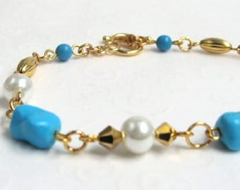 Blue Turquoise Nugget Bracelet, December Birthstone, Blue Turquoise and Gold Single Strand Bracelet