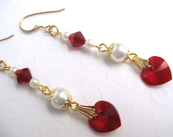 Ruby Red Crystal Heart Jewelry, Elegant Red Heart Dangle Earrings, Ruby Red July Birthstone Jewelry, Red and Gold Earrings, Gift for Her