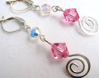 Pink Dangly Earrings, Swarovski Rose Pink Swirl Drop Earrings, Metal Spiral Earrings, Fashion Earrings, Dangle Earrings
