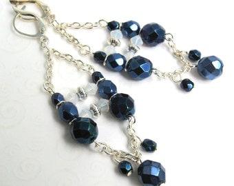 Boho Chandelier Earrings, Dark Blue and Silver Chain Earrings, Dark Blue Fancy Beaded Earrings, Midnight Blue Jewelry, Party Jewelry