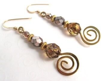 Gold Swirl Earrings, Earth Tones Bead Earrings, Brown Czech Glass Beaded Earrings, Spiral Coil Earrings, Fashion Jewelry for Her