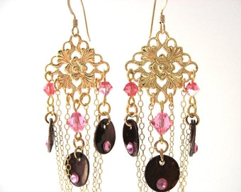 Filigree Chandelier Earrings, Chocolate Brown and Pink Fancy Earrings, Brown Shell Chandelier Earrings, Elegant Chain Jewelry